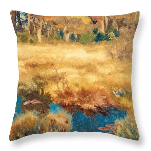 Swedish Art Throw Pillow featuring the painting Autumn Landscape With Fox by Bruno Liljefors
