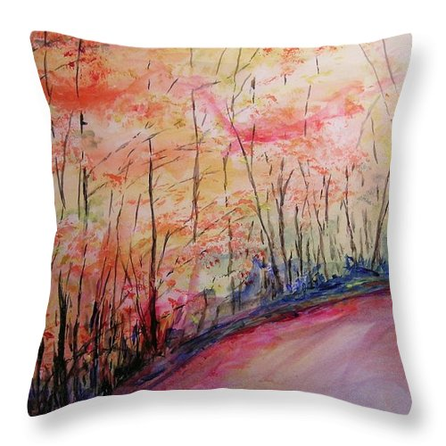 Landsape Throw Pillow featuring the painting Autumn Lane II by Lizzy Forrester