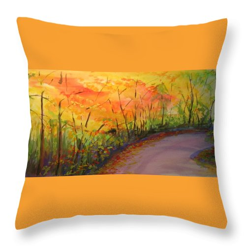 Original Landscape Impressionist Painting Throw Pillow featuring the painting Autumn Lane IIi by Lizzy Forrester