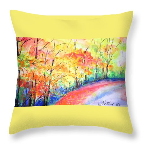 Autumn Throw Pillow featuring the painting Autumn Lane Iv by Lizzy Forrester