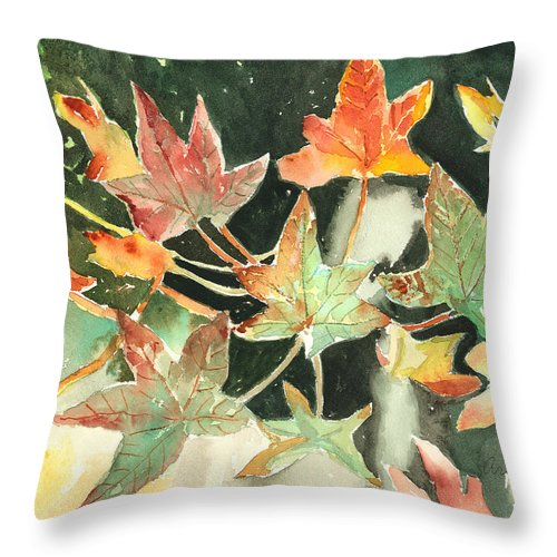 Leaf Throw Pillow featuring the painting Autumn Leaves by Suzanne Blender
