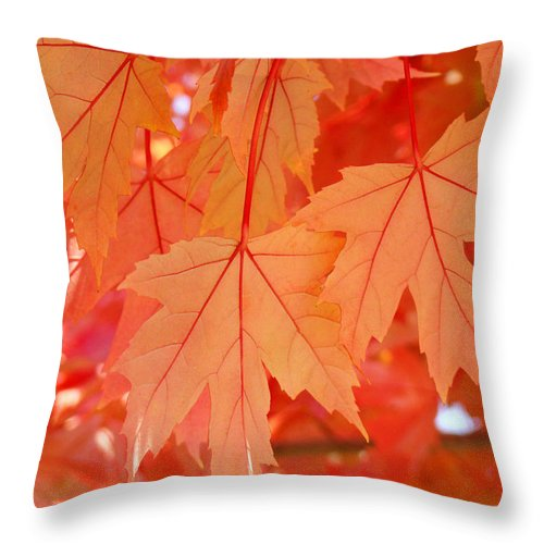 Nature Throw Pillow featuring the photograph Autumn Leaves Art Prints Orange Fall Leaves Baslee Troutman by Baslee Troutman