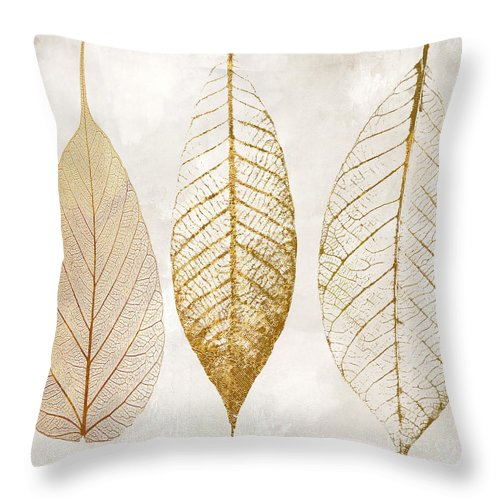 Leaf Throw Pillow featuring the painting Autumn Leaves III Fallen Gold by Mindy Sommers