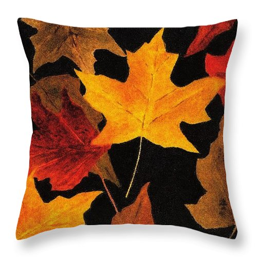 Leaves Throw Pillow featuring the painting Autumn Leaves by Michael Vigliotti