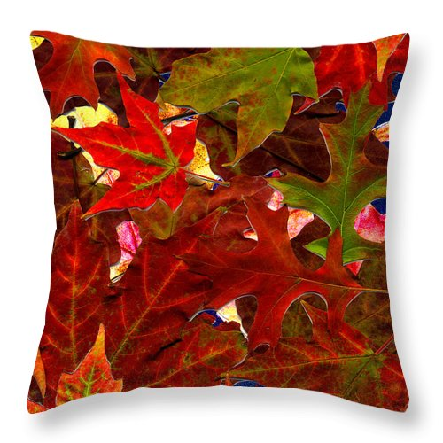 Collage Throw Pillow featuring the photograph Autumn Leaves by Nancy Mueller