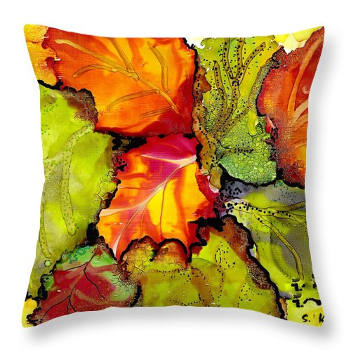 Leaves Throw Pillow featuring the painting Autumn Leaves by Susan Kubes
