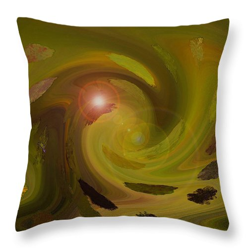 Digital Painting Abstract Throw Pillow featuring the digital art Autumn Light by Linda Sannuti