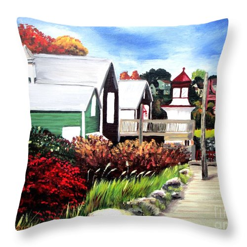 Lighthouse Throw Pillow featuring the painting Autumn Lighthouse Miramichi New Brunswick Canada by Patricia L Davidson