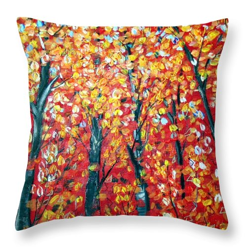 Landscape Throw Pillow featuring the painting Autumn by Luiza Vizoli