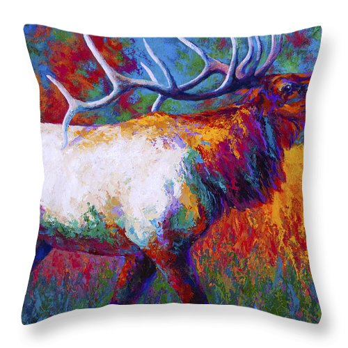 Elk Throw Pillow featuring the painting Autumn by Marion Rose