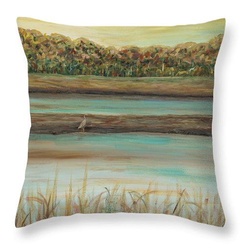 Bird Throw Pillow featuring the painting Autumn Marsh and Bird by Nadine Rippelmeyer