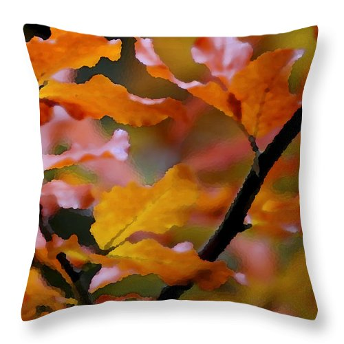 Leaves Throw Pillow featuring the painting Autumn by Mary Gaines