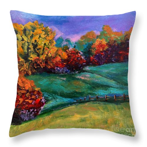 Abstract Landscape Throw Pillow featuring the painting Autumn Meadow by Lidija Ivanek - SiLa