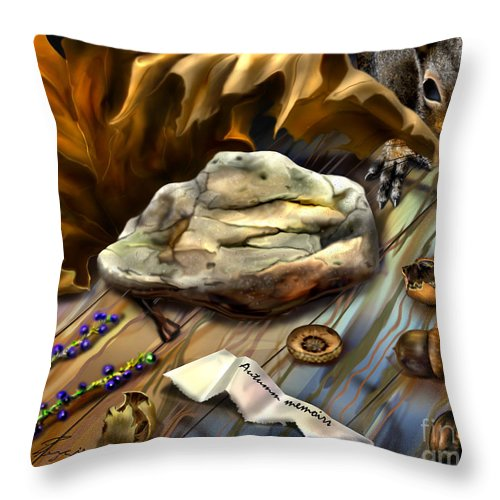 Animals Throw Pillow featuring the painting Autumn Memoirs-squirrels In The Attic by Reggie Duffie