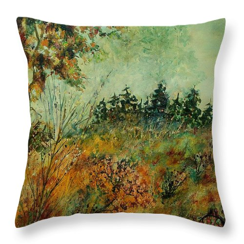 Tree Throw Pillow featuring the painting Autumn Mist 68 by Pol Ledent