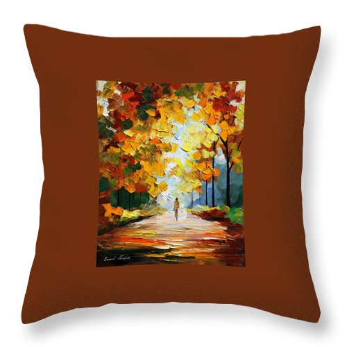 Landscape Throw Pillow featuring the painting Autumn Mood by Leonid Afremov