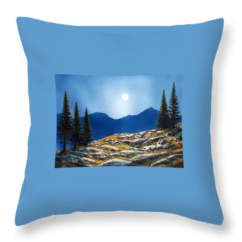 Landscape Throw Pillow featuring the painting Autumn Moon by Frank Wilson