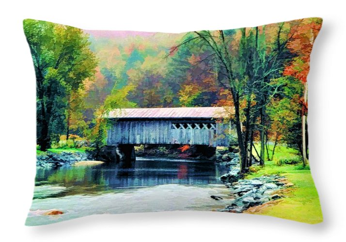 Covered Throw Pillow featuring the photograph Autumn Morning Mist 2 by Dan Dooley