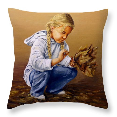 Autumn Throw Pillow featuring the painting Autumn by Natalia Tejera