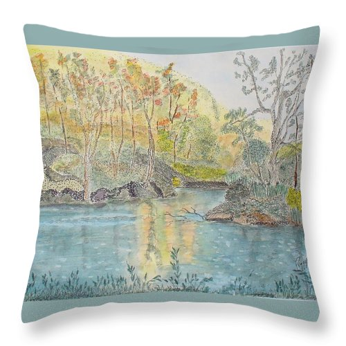 Watercolour Throw Pillow featuring the painting Autumn On The Ausable River by Peggy King