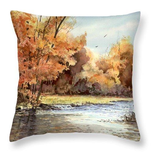 Autum Throw Pillow featuring the painting Autumn On The Buffalo by Sam Sidders
