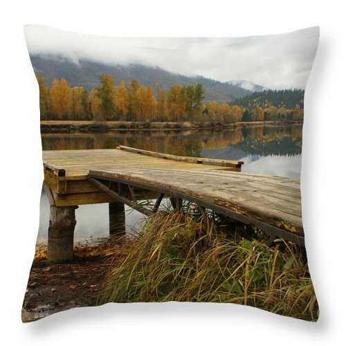 River Throw Pillow featuring the photograph Autumn On The River by Idaho Scenic Images Linda Lantzy