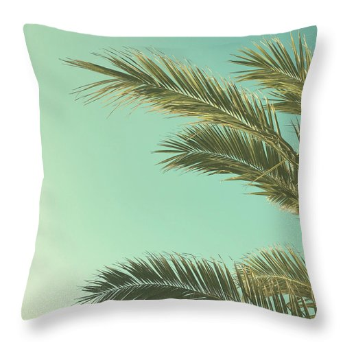 Palm Trees Throw Pillow featuring the photograph Autumn Palms II by Cassia Beck