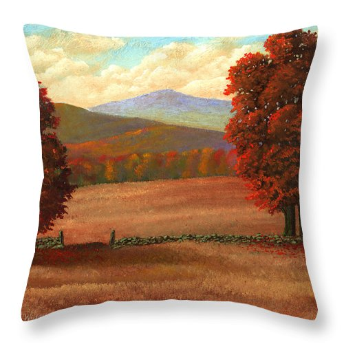 Autumn Throw Pillow featuring the painting Autumn Pastures by Frank Wilson