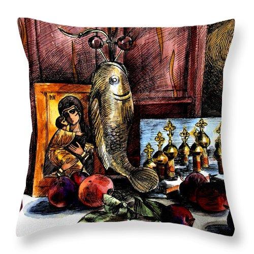 Madonna Throw Pillow featuring the painting Autumn Prayer by Inga Vereshchagina