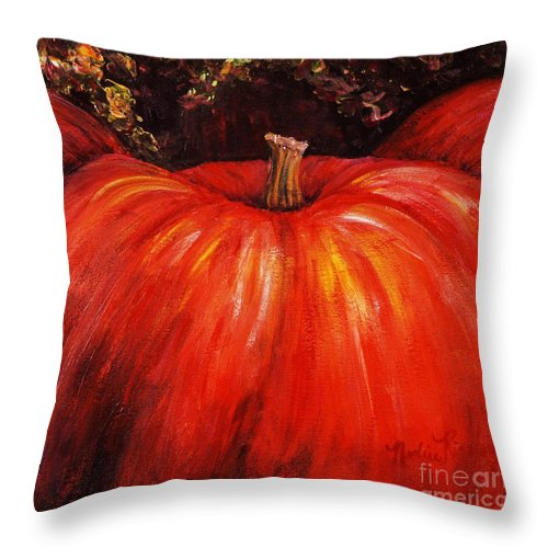 Orange Throw Pillow featuring the painting Autumn Pumpkins by Nadine Rippelmeyer