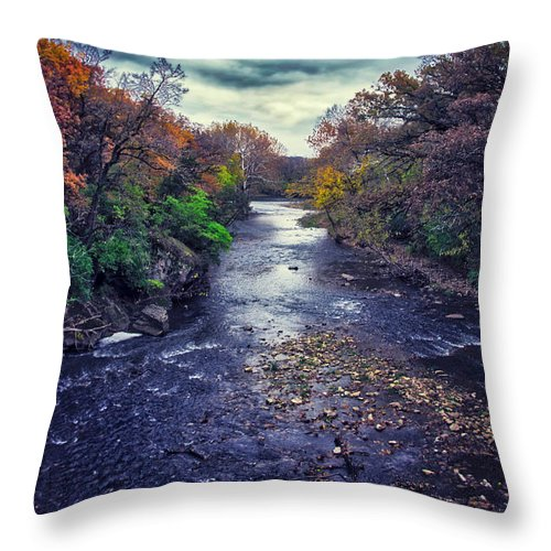 River Throw Pillow featuring the photograph Autumn Riders On The Storm by Thomas Woolworth