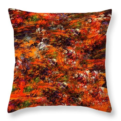 Abstract Digital Painting Throw Pillow featuring the digital art Autumn Riot by David Lane