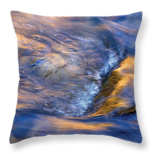 River Throw Pillow featuring the photograph Autumn River Ripple Rapids by Steve Somerville