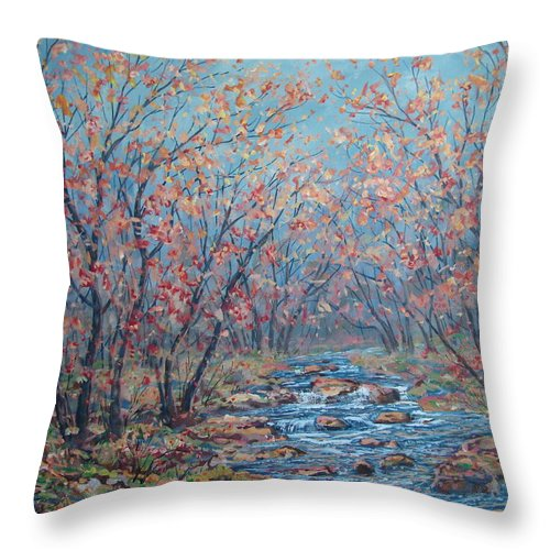 Landscape Throw Pillow featuring the painting Autumn Serenity by Leonard Holland