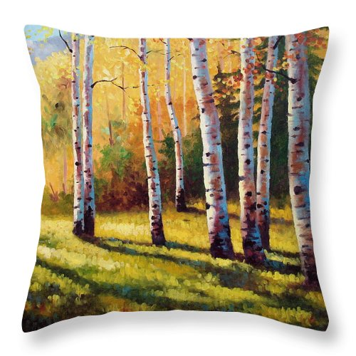 Landscape Throw Pillow featuring the painting Autumn Shade by David G Paul