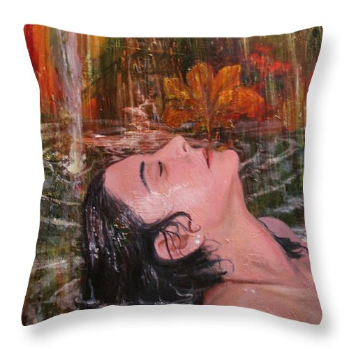 Beautiful Throw Pillow featuring the painting Autumn Showers by Alan Schwartz