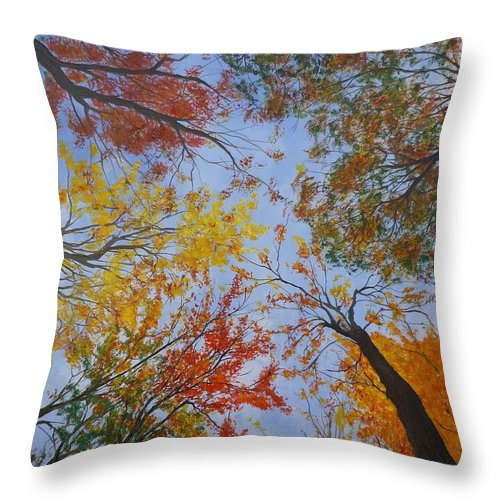 Tree Throw Pillow featuring the painting Autumn Sky by Lizzy Forrester