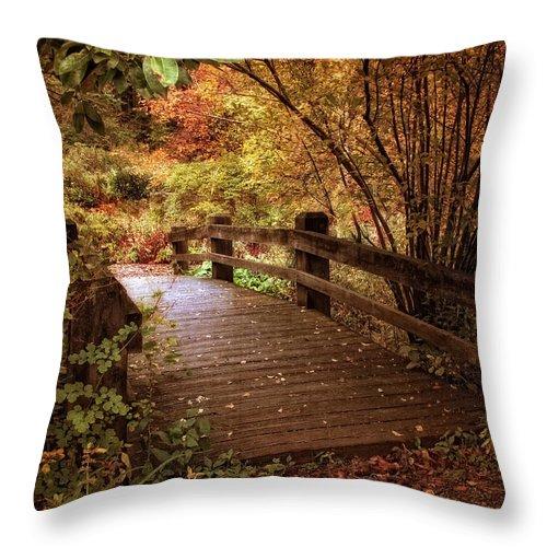 Bridge Throw Pillow featuring the photograph Autumn Splendor Bridge by Jessica Jenney