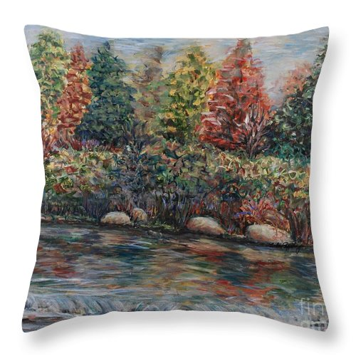 Autumn Throw Pillow featuring the painting Autumn Stream by Nadine Rippelmeyer