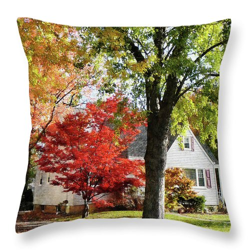 Suburban Throw Pillow featuring the photograph Autumn Street With Red Tree by Susan Savad