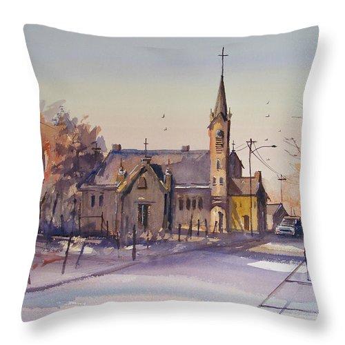 Watercolor Throw Pillow featuring the painting Autumn Stroll In Kaukauna by Ryan Radke