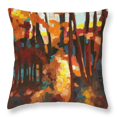 Contemporary Landscape Throw Pillow featuring the painting Autumn Sunlight by Mary McInnis