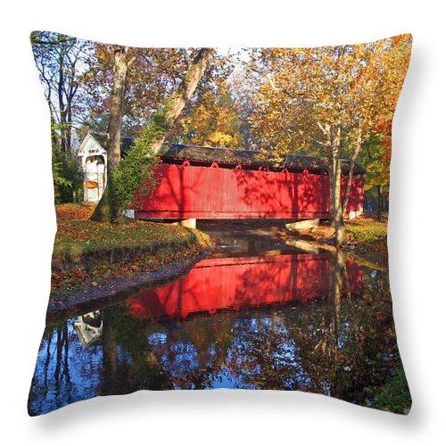 Covered Bridge Throw Pillow featuring the photograph Autumn Sunrise Bridge II by Margie Wildblood