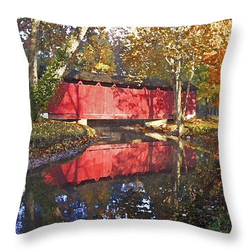 Covered Bridge Throw Pillow featuring the photograph Autumn Sunrise Bridge by Margie Wildblood