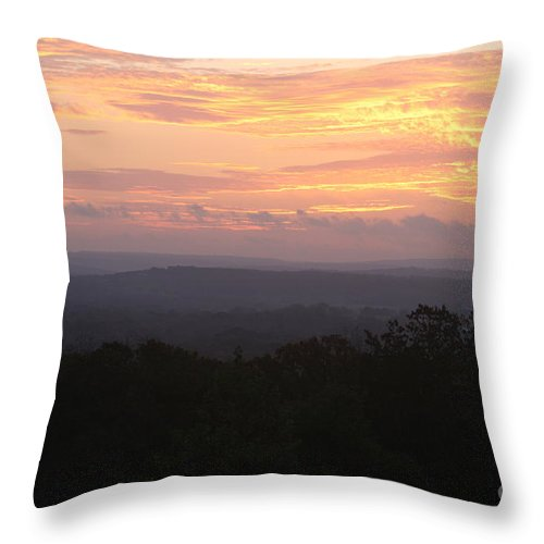 Sunrise Throw Pillow featuring the photograph Autumn Sunrise Over The Ozarks by Nadine Rippelmeyer