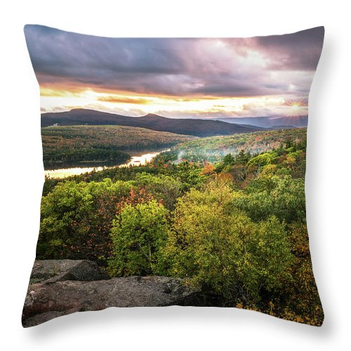 Catskills Throw Pillow featuring the photograph Autumn Sunset In The Catskills by Ryan Kirschner