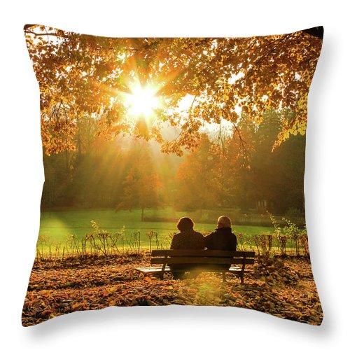 Gerlya Sunshine Throw Pillow featuring the photograph Autumn Sunshine In The Lichtentaler Allee. Baden-baden. Germany. by Gerlya Sunshine