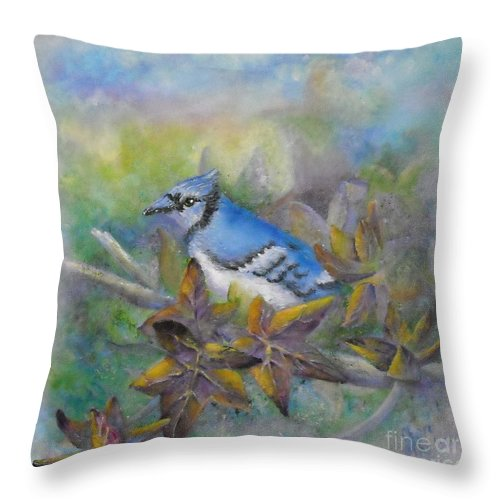 Autumn Throw Pillow featuring the painting Autumn Sweet Gum With Blue Jay by Sheri Hubbard
