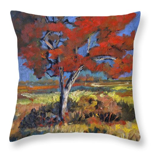 Autumn Throw Pillow featuring the painting Autumn Tree by Heather Coen
