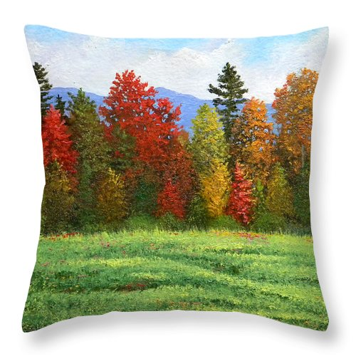 Autumn Throw Pillow featuring the painting Autumn Trees by Frank Wilson